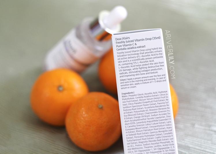 Dear Klairs Freshly Juiced Vitamin Drop Vitamin C Serum review - box ingredients