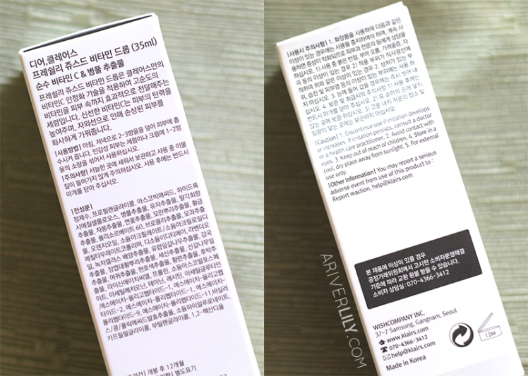Dear Klairs Freshly Juiced Vitamin Drop Vitamin C Serum review - box ingredients