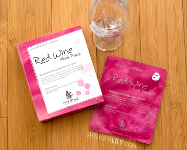 Naisture Red Wine Mask Pack sheet mask - Korean skincare kbeauty review glass