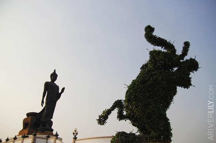 Travel Diary - Thailand Nakhon Pathom Buddhamonthon Park Phutthamonthon - Buddha statue elephant topiary