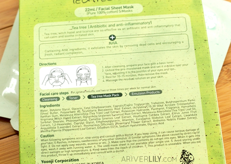 Naisture Tea Tree Mask Pack sheet mask review - box instructions ingredients list