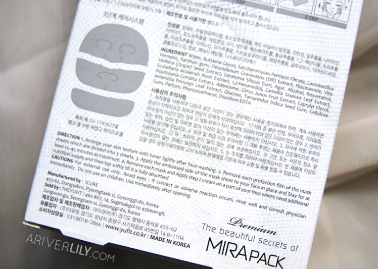 The Yufit Mirapack sheet mask pack blog review - anti-aging slimming glow chok chok cellulose hydrogel box